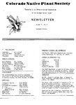 Colorado Native Plant Society Newsletter, Vol. 2 No. 5, September-October 1978