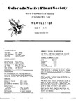 Colorado Native Plant Society Newsletter, Vol. 2 No. 6, November-December 1978