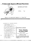 Colorado Native Plant Society Newsletter, Vol. 9 No. 2, March-April 1985