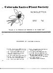 Colorado Native Plant Society Newsletter, Vol. 9 No. 3, May-June 1985