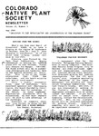 Colorado Native Plant Society Newsletter, Vol. 10 No. 3, May 1986