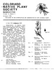 Colorado Native Plant Society Newsletter, Vol. 10 No. 5, November 1986