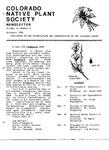 Colorado Native Plant Society Newsletter, Vol. 10 No. 5, November 1986