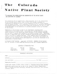 Colorado Native Plant Society Newsletter, 1976: