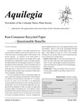 Aquilegia, Vol. 32 No. 4, Winter 2008, Newsletter of the Colorado Native Plant Society by John Giordanengo, Lynn Moore, Al Schneider, Brian Kurzel, Andrea Wolfe, and Diane Brown