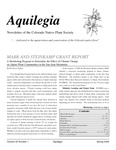 Aquilegia, Vol. 33 No. 1, Spring 2009, Newsletter of the Colorado Native Plant Society by Leo P. Bruederle, Koren Nydick, Marilyn Ritter Colyer, Jan Loechell Turner, Jenny Neale, Scott Dressel-Martin, Al Schneider, and Susan Smith