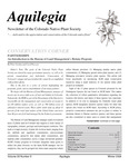 Aquilegia, Vol. 33 No. 5, Winter 2009, Newsletter of the Colorado Native Plant Society