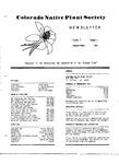 Colorado Native Plant Society Newsletter, Vol. 5 No. 2, April-June 1981