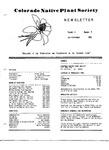 Colorado Native Plant Society Newsletter, Vol. 5 No. 4, October-December 1981